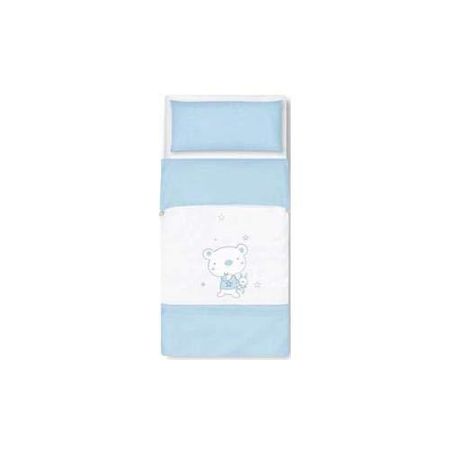 Pirulos 34013013 - Saco nórdico, diseño osito star, algodón, 72 x 142 cm, color blanco y azul