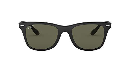 Ray-Ban RB4195 Wayfarer Liteforce Sunglasses, Matte Black/Polarized Green, 52 mm
