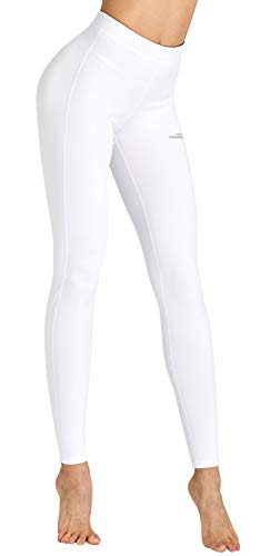 COOLOMG Damen Leggings Winter Thermo Leggings lang Fitness Workout Laufhose Sporthose Yogahose Weiß S