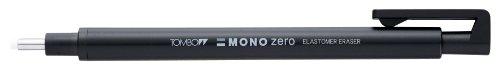 Tombow Mono zero - Set gomma per cancellare di precisione, punta rotonda, con 2 mine extra, colore: Nero