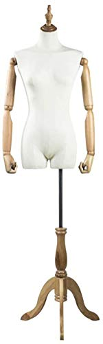 ZSY Maniquíes de Costura Código de Vestimenta Corporal con Madera sólida Manos trípode Estable a Ropa de Vestido de joyería. (Color : White)