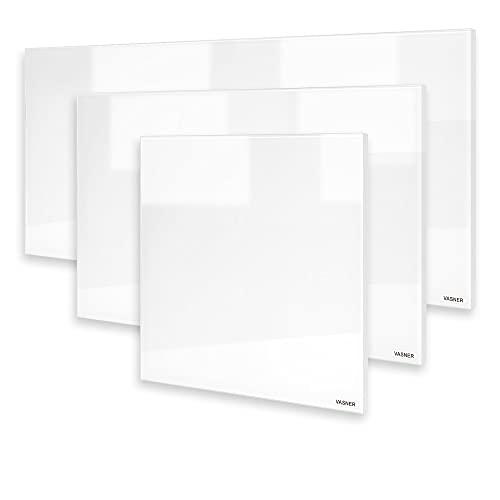 VASNER Citara G – Glas Infrarotheizung weiß, Rahmen weiß, 300 – 900 Watt, Elektroheizung Wandheizung mit IP44 Schutz & Sicherheitsglas für Bad, deutscher Hersteller (700 Watt)