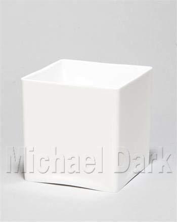 Oasis-vaas van acryl, kubusvormig, 15 cm, wit