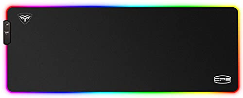 CP3 RGB Gaming Mouse Pad 12 Lighting Modes XXL Mouse Pad Large Anti-Slip Rubber Base and Waterproof Computer Mouse Pad for Game and Work , 31.5 X 11.8 Inch