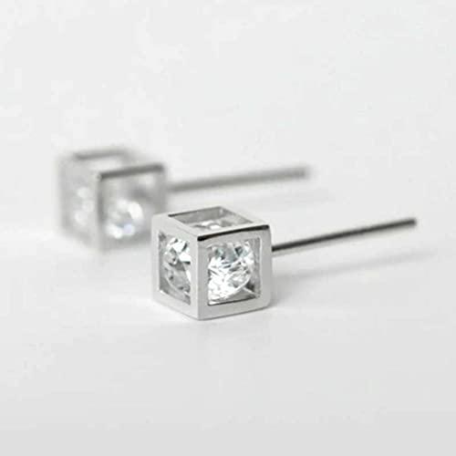 BEWITCHYU Pendientes de Plata S925, Pendientes de Diamantes Cuadrados para Hombres Y Mujeres, Parejas, Joyas de Plata Individualess925 plateado grande