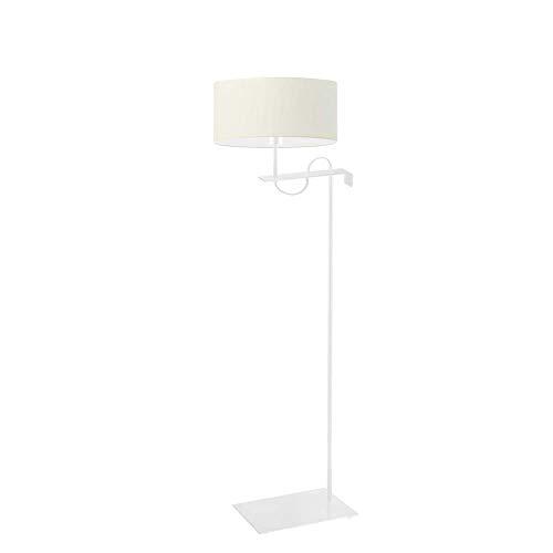 Kamerun - Lámpara de pie con pantalla de lámpara, color crudo, marco blanco