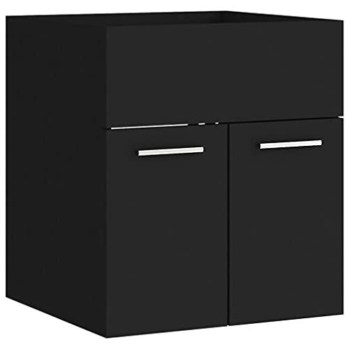 vidaXL Armario para Lavabo Lavamanos Inodoro Aseo Lavadero Muebles Mobiliario Almacenamiento Estante Robusto Estable Aglomerado Negro 41x38,5x46 cm