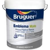 BRUGUER Pintura PLÁSTICA Emblema Mate Blanco 4 L, Negro