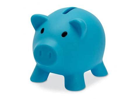 Sparschwein aus PVC mit weichem Körper in lebendigen Farben, originelle kleine Spardose für Kinder, mit Deckel, leicht und robust (hellblau)