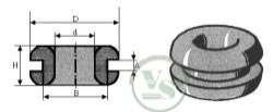 VS-ELECTRONIC - 511062 Kabeldurchführungstülle, D=9/1.5, Schwarz (100-er Pack) KD712