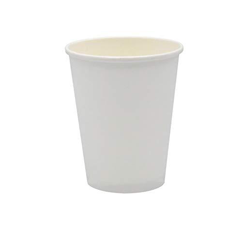 Pack&Cup Bio Kaffeebecher Pappbecher Coffee to Go Einwegbecher Plain White 250 ml (9 OZ) 50 Stück