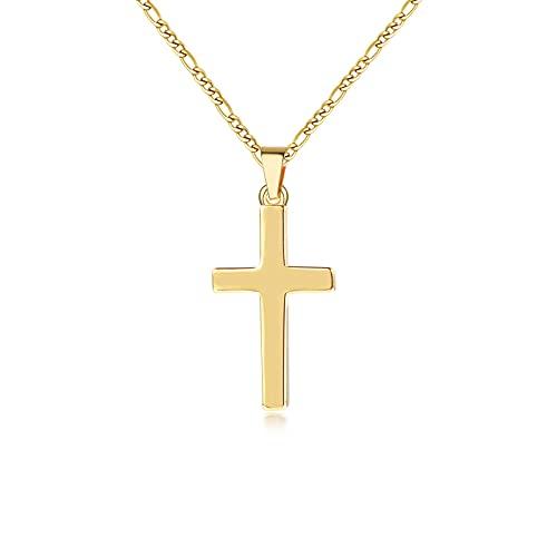 Kette Gold Damen Herren mit Klein Kreuz Anhänger Kreuz Kette Gold für Männer Damen Herren Kettenlänge 43cm