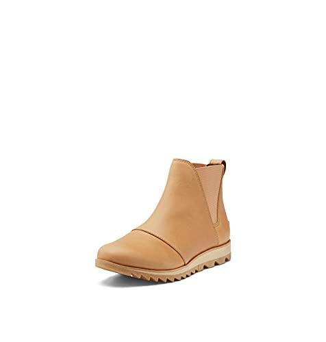 SOREL Women's Harlow Chelsea Rain Boot — Tawny Buff, Gum 2 — Waterproof Leather Ankle Booties — Size 7.5