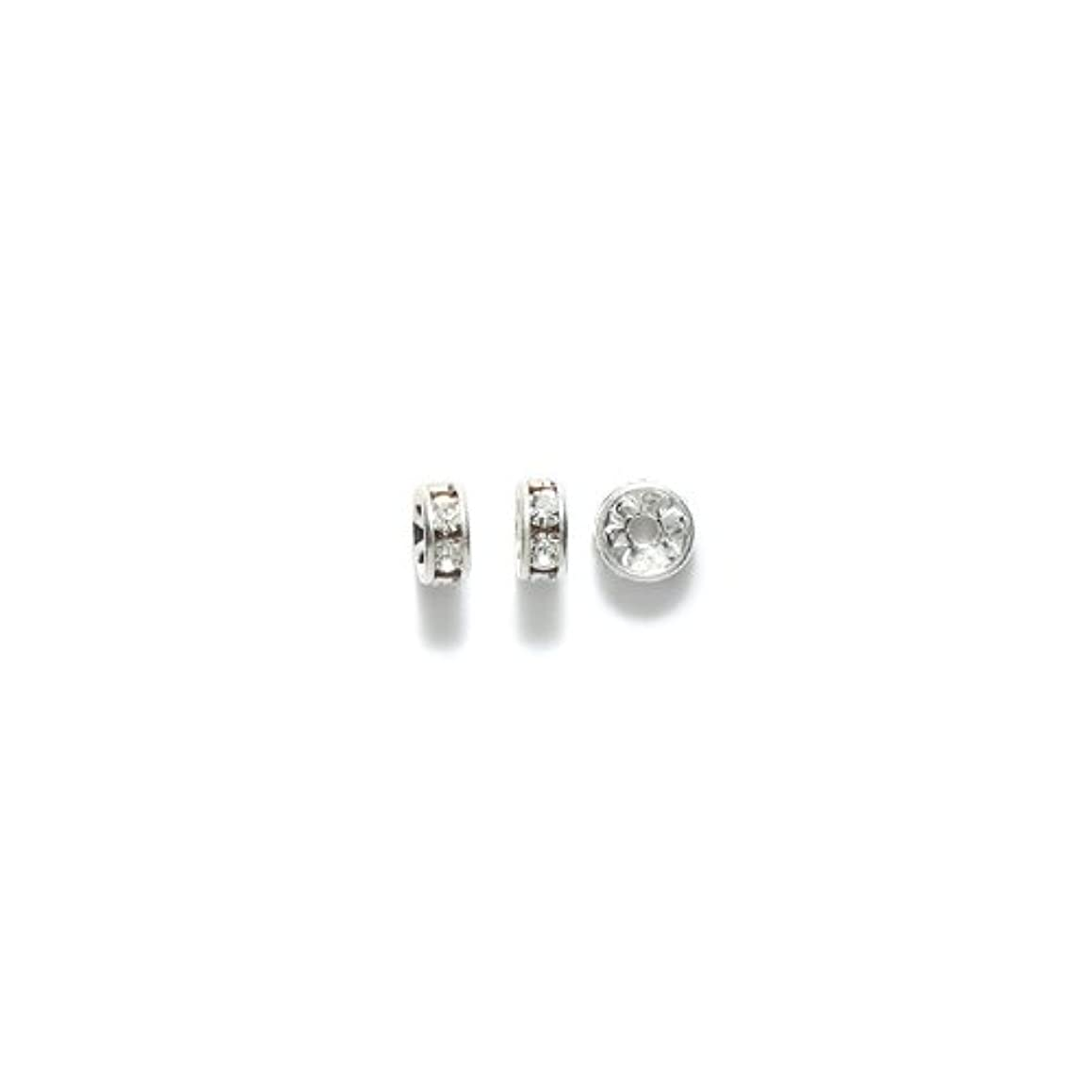 Preciosa Rhinestone Rondelle Beads, 6mm, Crystal, 36-Pack