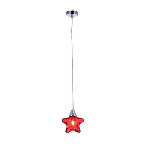 Suspension pour les enfants, 1 Lampe, Style moderne, Armature en Métal couleur chrome, abat-jour de verre rouge en forme d`etoile, 1 ampoule, excl. 1 G9 28W 220-240V