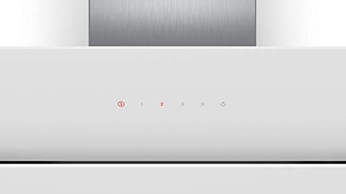 Bosch DWK67CM20 Serie 4 Wandesse / B / 60 cm / Klarglas Weiß / wahlweise Umluft- oder Abluftbetrieb / TouchSelect Bedienung / Intensivstufe / Metallfettfilter (spülmaschinengeeignet)