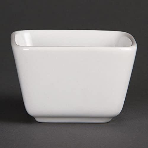 Olympia Whiteware Mini Plats Carrés Hauts en Porcelaine Blanche 75mm - Entièrement Vitrifié avec Bords Roulés Renforcés - Paquet de 12