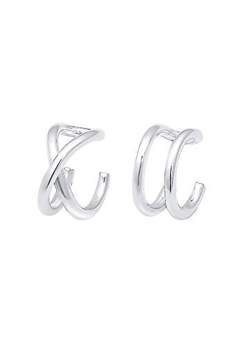 Elli Ohrringe Damen Earcuff Klemme Set Geo Basic Minimal in 925 Sterling Silber
