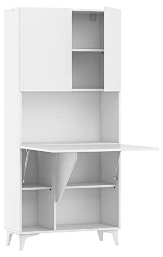 Megan - Escritorio plegable con 1 estantes, para el hogar, oficina, escritorio, portátil, mesa plegable (blanco mate)