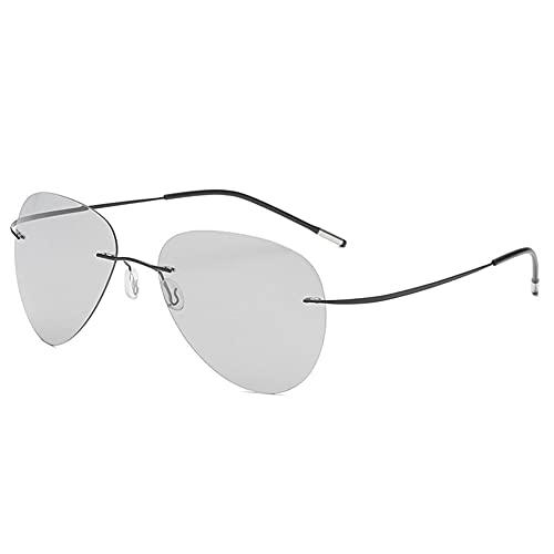 LKING Gafas De Sol Ultraligeras Polarizadas Sin Montura Que Cambian De Color Para Hombres Que Conducen Y Conducen Anteojos De Día Y Noche Con Espejo De Sapo