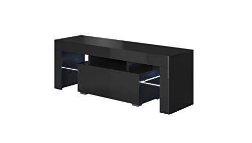 muebles bonitos – Mueble TV Modelo Elio (130x45cm) Color Negro con LED RGB