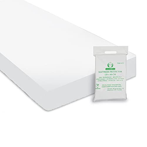 MammaVaiTra (120 x 60, 1) Coprimaterasso Impermeabile per Lettino Neonati - 100% Cotone Oeko Tex e PVC, 120x60cm