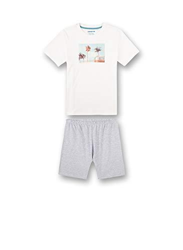 Sanetta Jungen Schlafanzug kurz beige Pyjamaset, White Pebble, 188