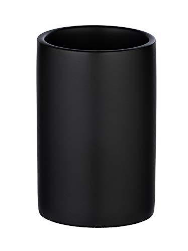 WENKO Polaris Zahnputzbecher-/ Zahnbürstenhalter (für Zahnbürste und Zahnpasta, Keramik) 7 x 11 x 7 cm, Schwarz matt