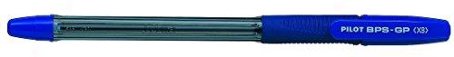 Pilot BPS GP Kugelschreiber 12 Stück gummierter Griff extra breite 1,6mm Schreibspitze 0,55mm Strichbreite 12 Stück blau