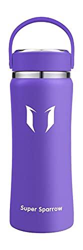 Super Sparrow Botella de Agua Acero Inoxidable - 500ml, Boca Ancha Termo, Sin BPA Free, Botellas Termica Reutilizable Frascos Térmicos para Niños & Adultos, Deporte, Oficina, Yoga, Ciclismo