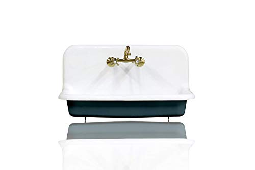 Antique Inspired 36' High Back Farm Sink Cast Iron Original Porcelain Wall Mount Kitchen Sink Package Hague Blue