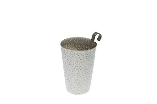 Eigenart TEAEVE® Teetasse, Becher mit Sieb und Deckel STONES PLATIN gold weiß