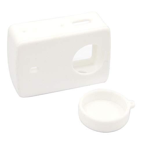 Funda protectora de silicona, compatible con Xiaomi Yi 4K XiaoYi 2 II Xiomi 4K Cámara, funda protectora para cámara, 2 unidades (color blanco)