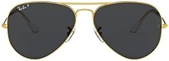 Ray Ban unisex adult Rb3025 Classic Polarized Sunglasses Legend Gold Black Polarized 58 mm US product image