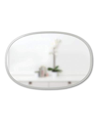 Umbra Hub - Specchio da parete ovale, 50 x 80 cm, con cornice protettiva in gomma
