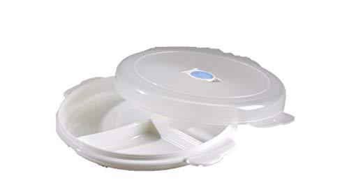 Conny Clever 3 Stück Gastro Mikrowellenteller Set unterteilt mit Fächern Deckel Entlüftung Gefrierteller für Mikrowelle zum Essen aufwärmen oder einfrieren Gefriertruhe Gefrierfach im Kühlschrank +