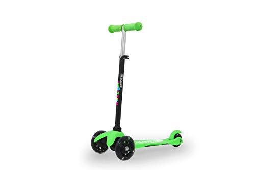 Jamara 460495 KickLight Scooter groen stuur in hoogte verstelbaar, beweegbare stuurstang voor richtingverandering, kogelgelagerde lampen, 3 wielen voor stabiel rijden en achterwielrem
