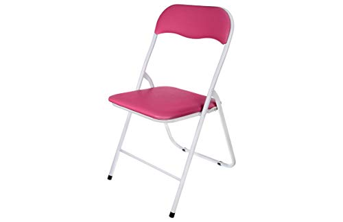 HERSIG - Silla Plegable | Silla Metalica Plegable - Color Blanco y Rosa