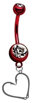 CustomCharms Fishing Hook & Heart Premium Red Titanium Anodized Belly Button Navel Ring