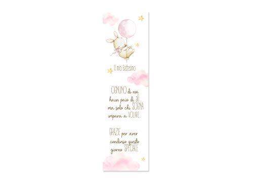 ipt 30 pz. segnaposto in Carta Vari Eventi segnalibro (Coniglietta Rosa - Bunny (Battesimo))