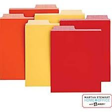"""Martha Stewart Home Office with Avery Vertical File Folder 2 Tabs 1/2-cut 6 Vertical File Folders, Assorted Colors - Orange, Red, Yellow, 9-1/8"""" X 12"""" 24520"""