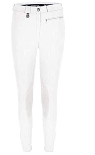 Pikeur Damen Reithose Princesse 2733, Leder-Kniebesatz, hochelastische Schoeller Mikrofaser, Reißverschlusstasche, Klettabschlüsse (36, Weiß)
