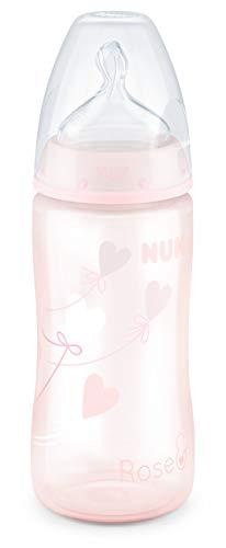 NUK, First Choice+ - Biberón para bebé de 0 a 6 meses, con control de temperatura, 300 ml, válvula anticólicos, sin BPA, tetina de silicona de silicona, 1 unidad, color rosa