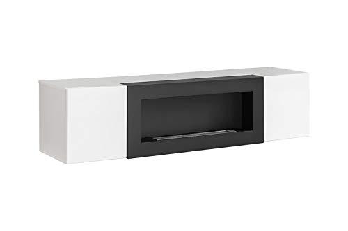 ASM FLY SBK - Soporte para TV con chimenea (160 cm, con puertas PUSH-CLIC), color blanco