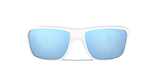Oakley Men's OO9416 Split Shot Rectangular Sunglasses, Polished White/Prizm Deep H2O Polarized, 64 mm