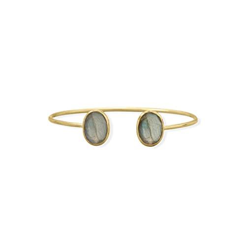 Brazalete de plata de ley 925 con efecto de labradorita de 14 quilates, con dos piedras preciosas, medidas de 13 mm x 10 mm, joyería para mujer