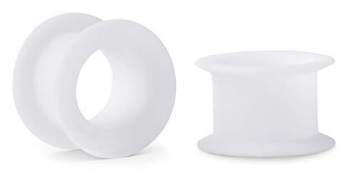 Crazy Factory® 2 dilatadores de silicona | 14 mm | color blanco + piercing + oreja + barato + Basic + Top calidad