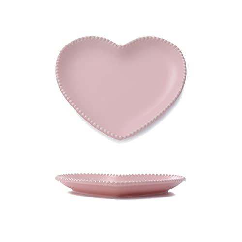 RONGXIANMA Plato Vajilla de cerámica esmerilada Plato de Amor Plato de Postre Creativo en Forma de corazón