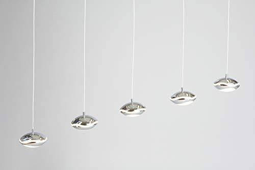 anTes interieur Dimmbare Höhenverstellbare LED Hängeleuchte Clamia 5-flammig chrom (Pendelleuchte Hängelampe Deckenlampe Pendellampe Deckenleuchte)