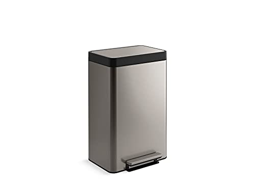 KOHLER 11 Gallon Hands-Free Dual Compartment Recycling Kitchen Step Can, Trash Can with Foot Pedal, Quiet-Close Lid, Stainless Steel, K-20956-ST